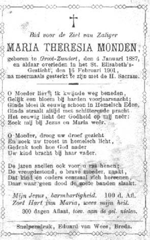 Monden-Maria-Theresia-Bidprentje