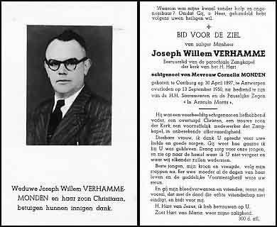 Verhammen-Willem-Bidprentje