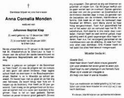 Monden-Anna-Cornelia-Bidprentje