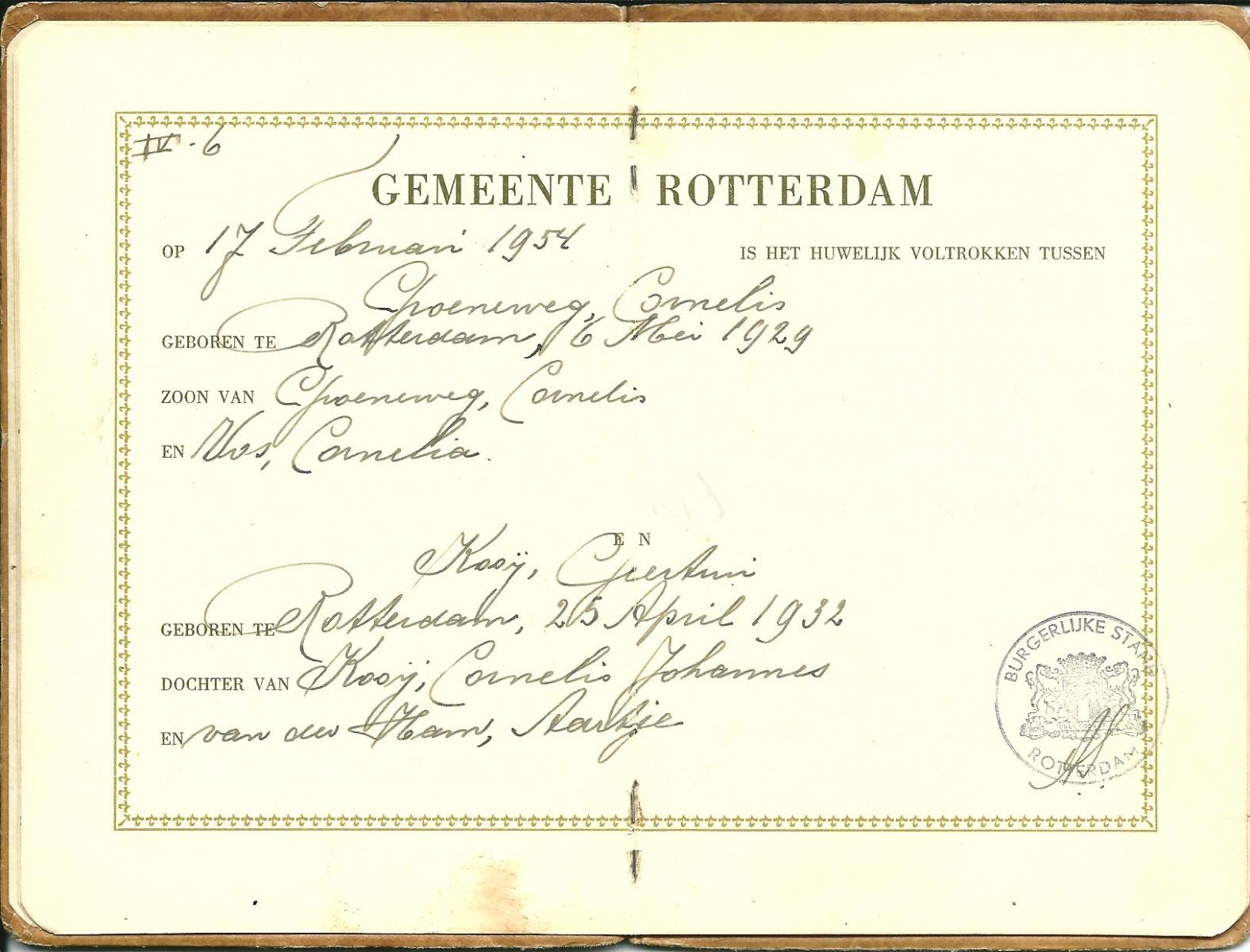 Groeneweg-Cornelis-en-Kooij-Geertrui-Trouwboekje-a