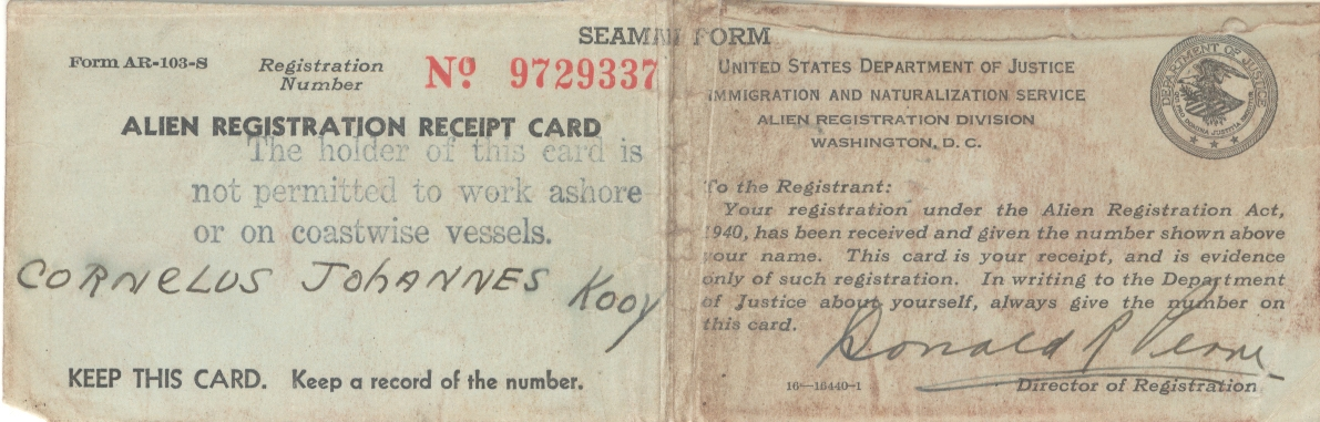 Kooij-Cornelis-J.-Alien-registration-receipt-card