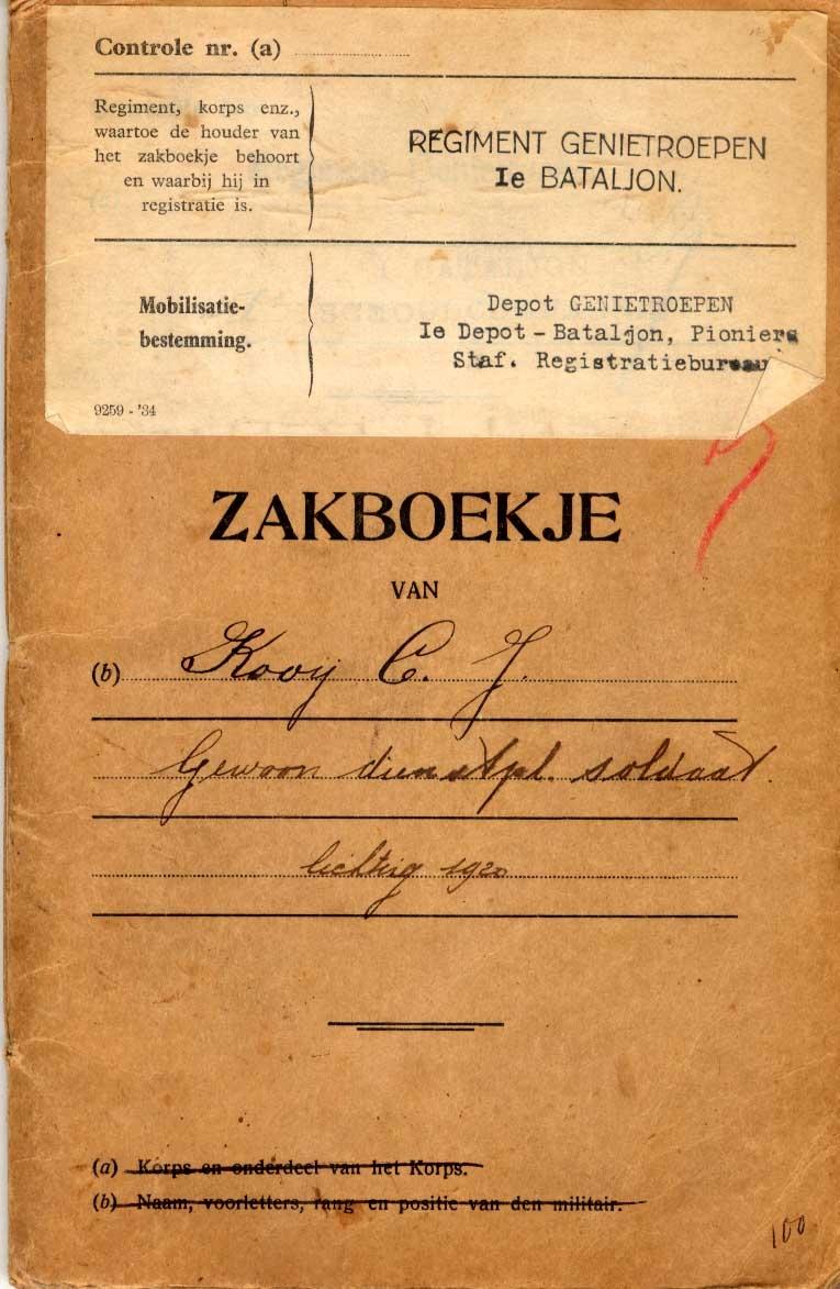 Kooij-Cornelis-Johannes-Zakboekje-Genietroepen-1920-a