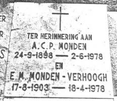 Monden-Antonius-Cornelis-Petrus-en-Verhoogh-Elisabeth-Maria-Grafsteen