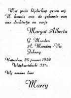 Monden-Margot-20-01-1959-Geboortekaartje