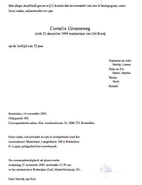 Groeneweg-Cornelis-Overlijdenskaart-16-11-2001