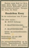 Kooij-Hendrikus-Overlijdensadvertentie-12-07-1959-Rotterdam